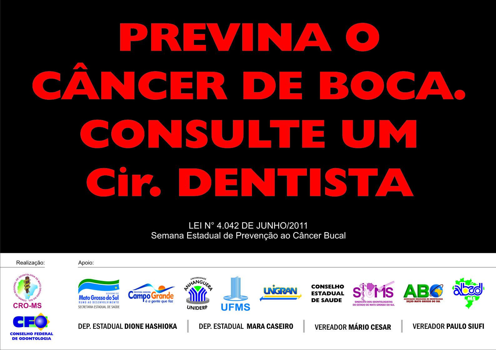 Conselho faz blitz de prevenção ao Câncer de Boca neste domingo