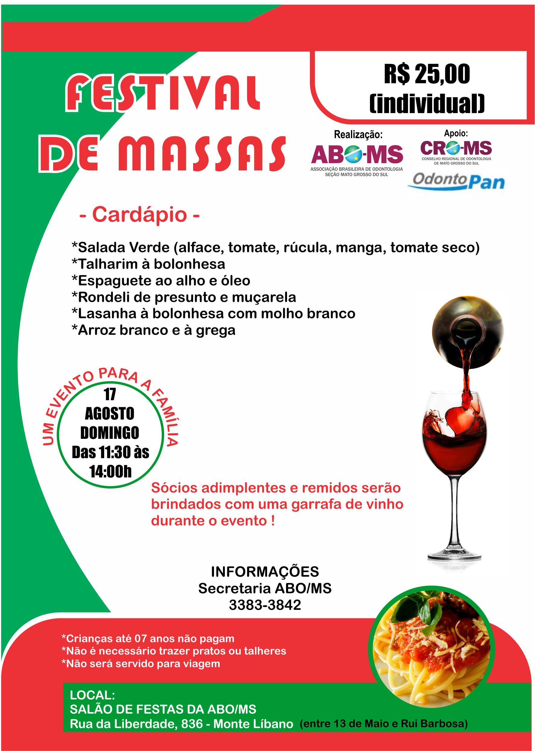 Festival de Massas da ABO-MS será no próximo domingo