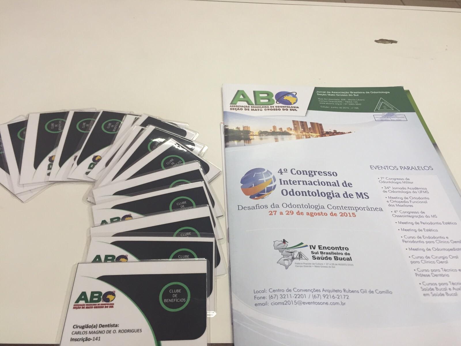 ABO-MS entrega carteiras de sócios e profissionais poderão fazer adesão durante o 4º CIOMS