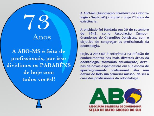 Aniversário: ABO-MS completa 73 anos