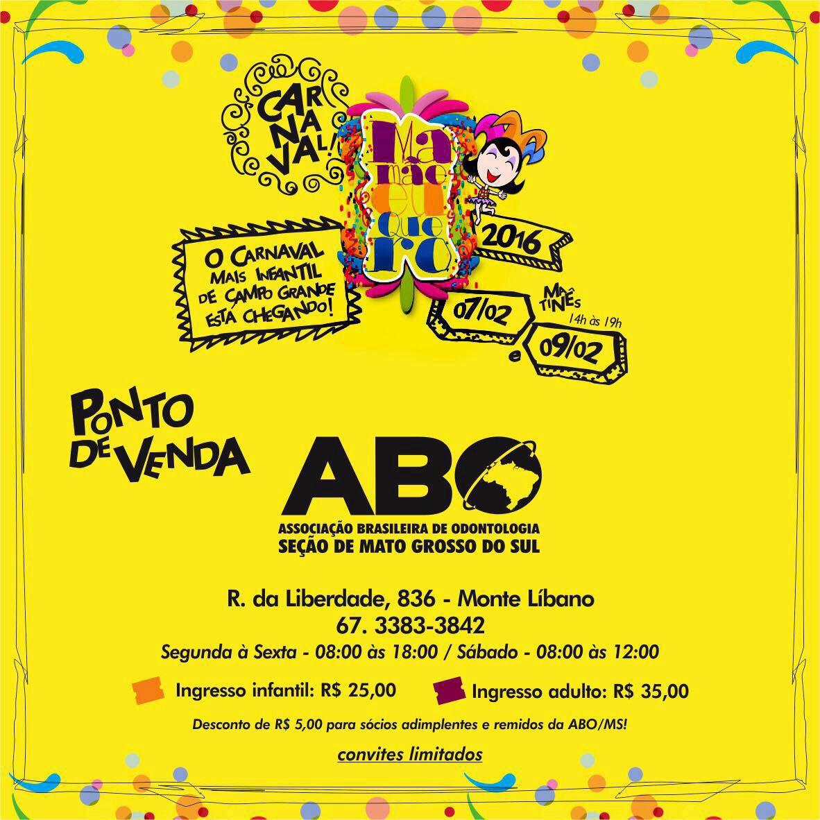 ABO-MS sorteia dois ingressos para Carnaval Infantil