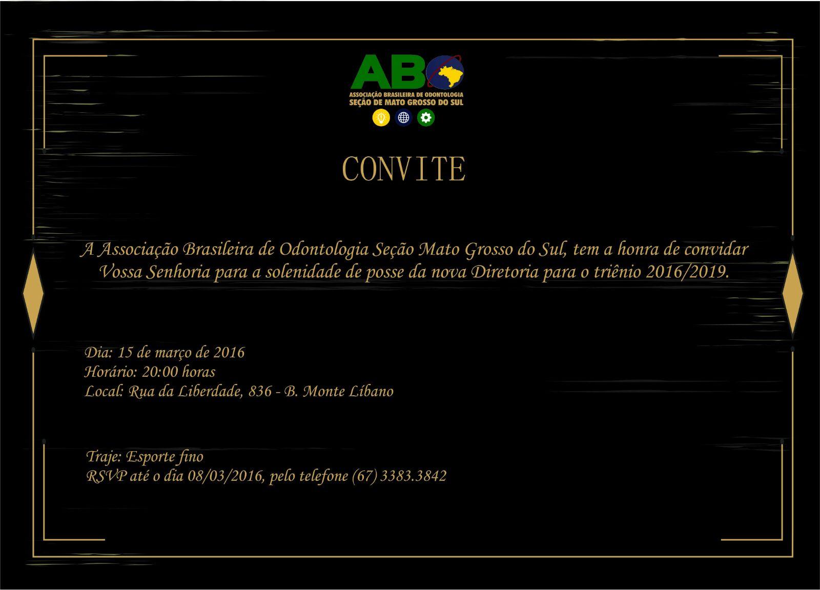 Solenidade de posse da ABO-MS será dia 15 de março