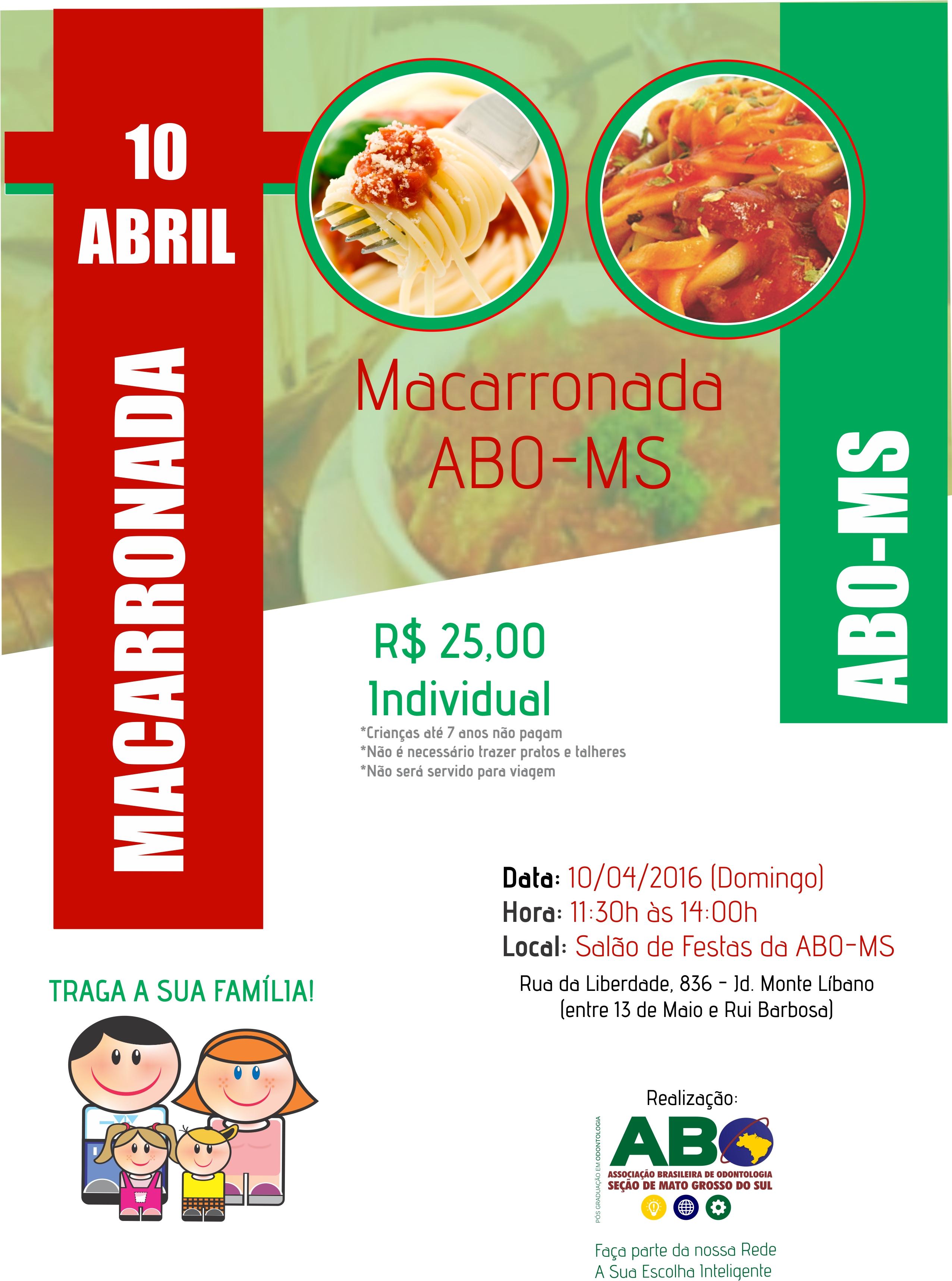 Macarronada da ABO-MS será dia 10 de abril