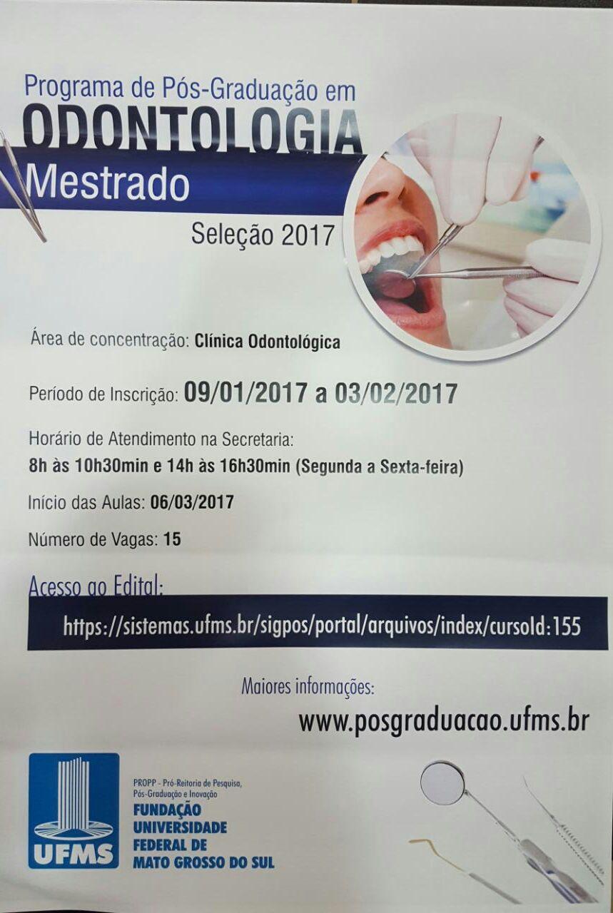 UFMS publica edital de seleção para Mestrado em Odontologia