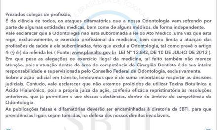 Comunicado da Sociedade Brasileira de Toxina Botulínica e Implantes Faciais